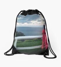 Staring out to Sea Drawstring Bag