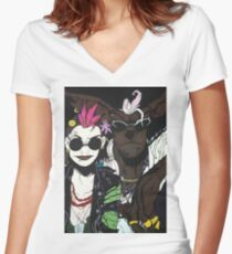 Tank Girl and Booga Women's Fitted V-Neck T-Shirt