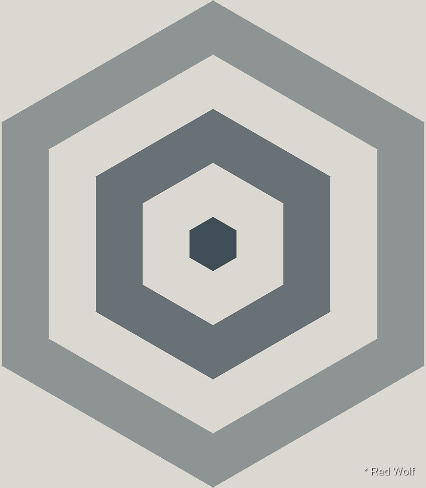 Geometric Pattern: Hexagon Hive: Pebble by * Red Wolf