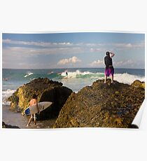 Surfing photographer at work Poster