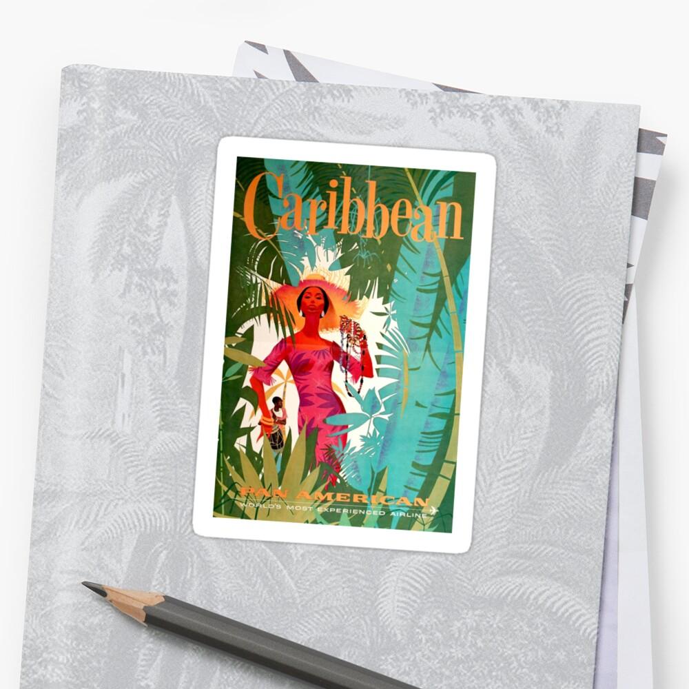 Cartel de viaje del Caribe Vintage Pegatinas