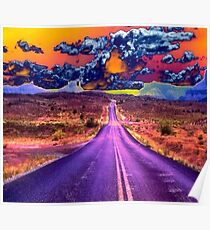 Psychedelic Road Scene Poster