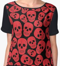 Red Halloween Skull on Black Chiffon Top