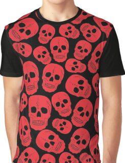 Red Halloween Skull on Black Graphic T-Shirt