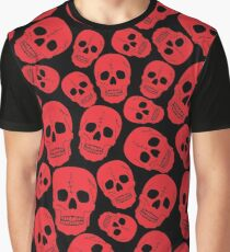 Red Halloween Skull on Black Graphic T-Shirt
