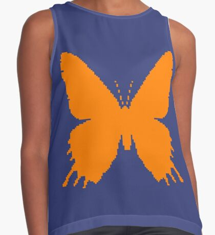 8-bit Simplex pixel Orange butterfly Sleeveless Top
