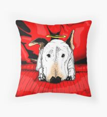 Bull terrier with a halo on the couch Throw Pillow