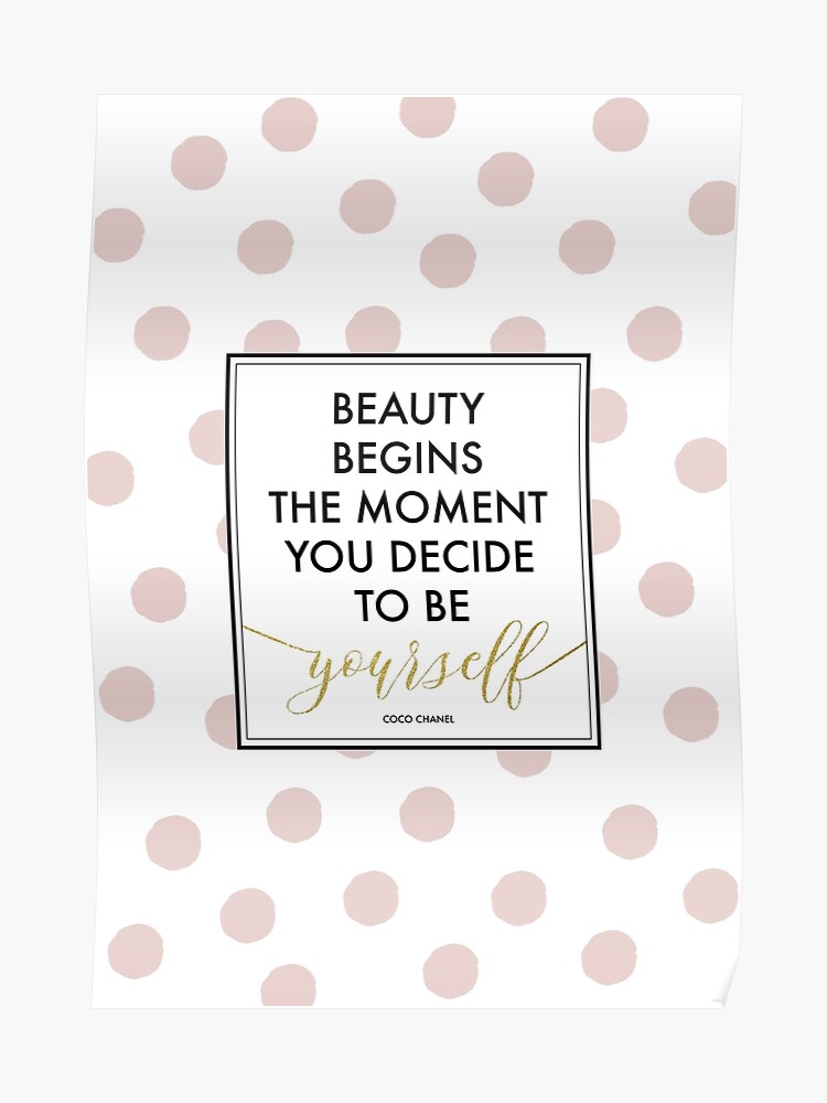 Beauty Begins - Coco Chanel Quote (Pink Dots) | Poster