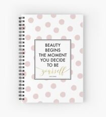 Beauty Begins - Coco Chanel Quote (Pink Dots) Spiral Notebook