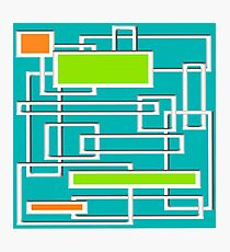 Mid-Century Modern Abstract Art Teal Photographic Print