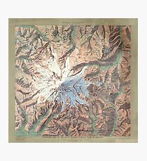 Vintage Mount Rainier Topographical Relief Map Washington Photographic Print