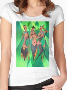 Three Ethnic Traditional Black Women Dancing Women's Fitted Scoop T-Shirt