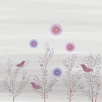 Twig Birds Gray by DionisiSandra