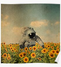 astronaut in a sunflower's field Poster
