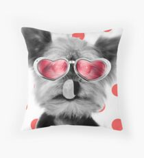 Cute Yorkshire Terrier dog wearing red heart glasses Throw Pillow
