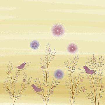Twigs Birds Flowers - Ochre by DionisiSandra