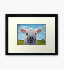 Happy Day farm animal landscape - lamb oil painting Framed Print