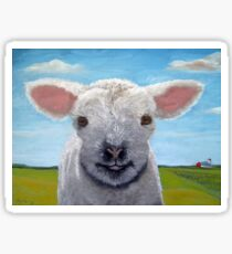 Happy Day farm animal landscape - lamb oil painting Sticker
