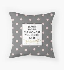 Beauty Begins - Coco Chanel Quote (Pink Dots) Throw Pillow