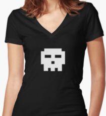Scott Pilgrim - Pixel Skull Women's Fitted V-Neck T-Shirt