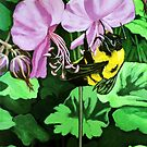 Bumblebee summer flower  by LindaAppleArt