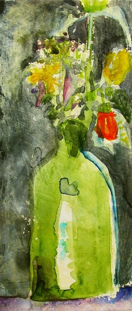 green vase... with flowers by donna malone