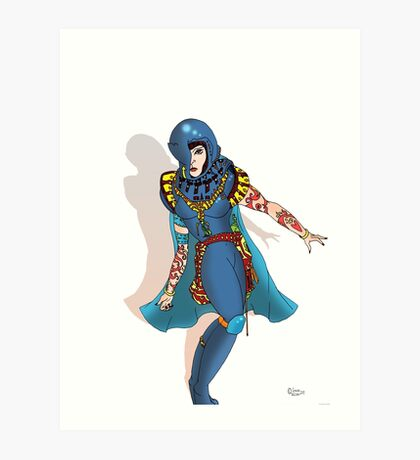 Blue Science fiction Warrior  [Pen Drawn Fantasy Figure Illustration] Art Print