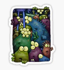 A crowd of chest dwelling aliens ... Sticker