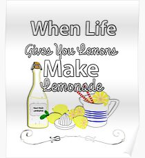 Make Lemonade Funny Inspirational Quote Graphic  Poster