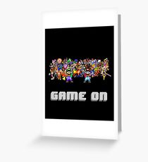 Game On! Video Game Crowd with Mario and Luigi Greeting Card