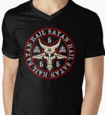Hail Satan Baphomet in Occult Inverted Pentagram Men's V-Neck T-Shirt