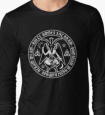 Baphomet & Satanic Crosses with Hail Satan Inscription Long Sleeve T-Shirt