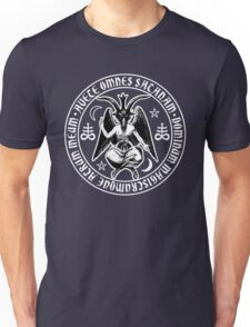 Baphomet & Satanic Crosses with Hail Satan Inscription Unisex T-Shirt