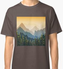 Blue mountains with forest on sunset Classic T-Shirt