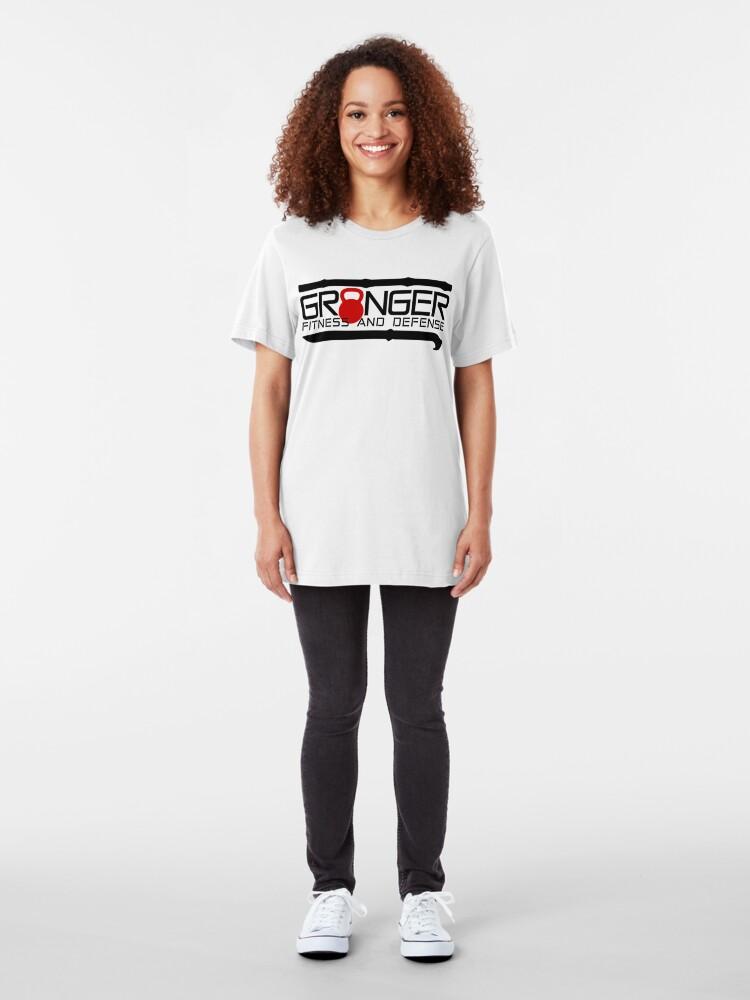 Alternate view of Red Full Logo for Granger Fitness and Defense  Slim Fit T-Shirt