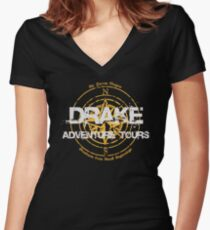 Drake Adventure Tours Women's Fitted V-Neck T-Shirt