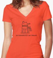 Exterminate or Treat!!! - Light Shirt Women's Fitted V-Neck T-Shirt