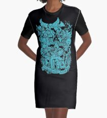 Old Friends - Blue Graphic T-Shirt Dress