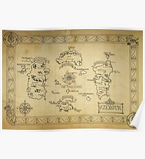Azeroth map - old hand drawn Poster