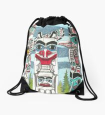 Totem Talk Drawstring Bag