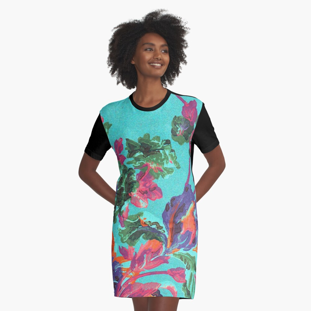 Happy Blooms Graphic T-Shirt Dress Front