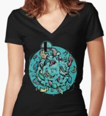 Old School Smash Women's Fitted V-Neck T-Shirt