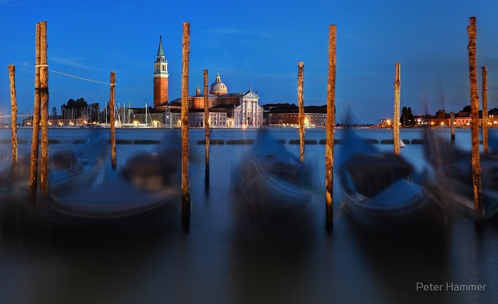 Gondolas and Church by Peter Hammer