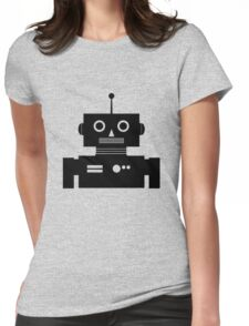Retro Robot Shape BLK Womens Fitted T-Shirt