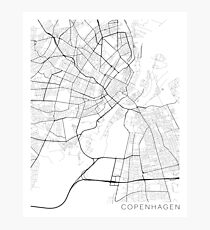 Copenhagen Map, Denmark - Black and White Photographic Print