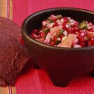Orange Pomegranate Salsa and Blue Corn Tortilla Chips by Robert Armendariz