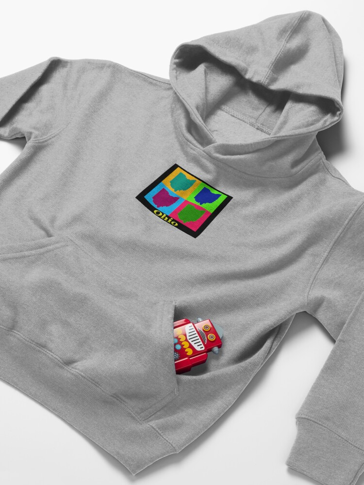 Alternate view of Colorful Ohio State Pop Art Map Kids Pullover Hoodie