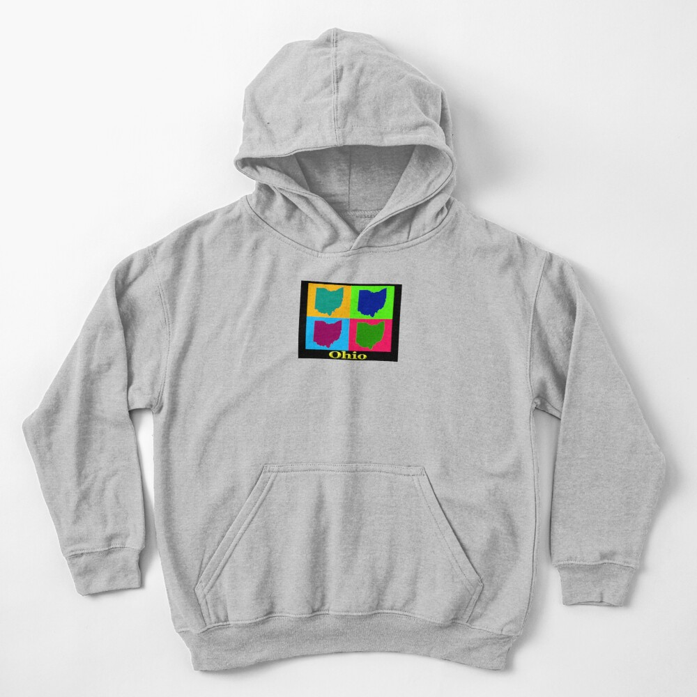 Colorful Ohio State Pop Art Map Kids Pullover Hoodie