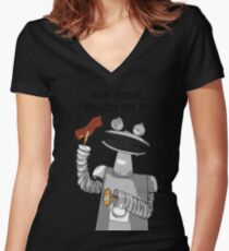 Bacon Bot GMM Women's Fitted V-Neck T-Shirt