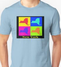 Colorful New York State Pop Art Map T-Shirt